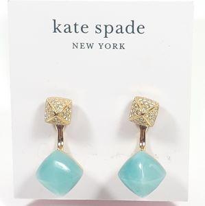 ♠️Kate Spade Pave/Aqua 2in1 Ear Jackets Earrings